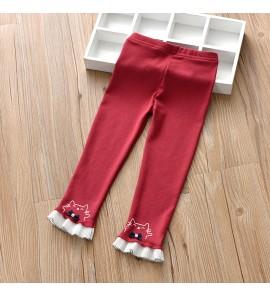 Kids Children Girl Leggings Double Lace Bow Pencil Cotton Pants