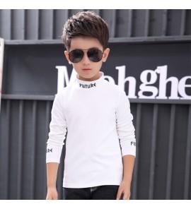 Kids Children Boy T-shirt Half-High Collar Shirt Coat Long-Sleeved Cotton