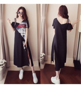 Women Summer Large Size Strapless Loose Long Cotton Sleeve Maternity Dress