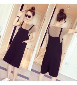 Women Summer Two-Piece Suit Stomach Lift Wide Leg Pants Maternity Dress