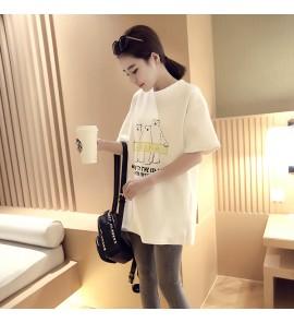 Women Short-sleeved T-shirt Skirt Loose Bottoming Shirt Maternity Tops