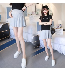 Women Summer Pregnancy Loose Stomach Lift Pleated Maternity Skirts