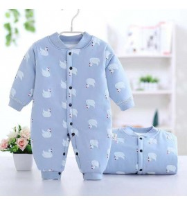 Baby Winter Coat Quilted Warm Newborn Clothes Pajamas Sleepwear