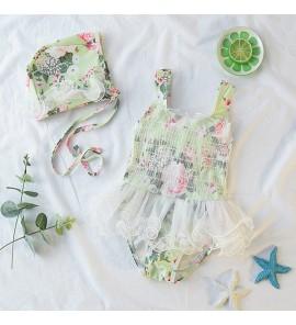 Baby Korean Princess Swimwear Flower Lace Cute Swimsuit