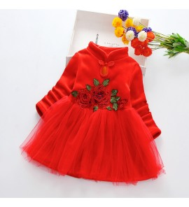Kids Children Girl Winter Chinese Princess Skirt Thick Warm Dress