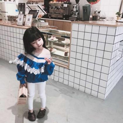 Kids Children Girl V-neck One-Shoulder Strap Long-sleeved Tops