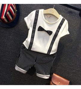 Kids Children Boy Summer Short-Sleeved Jumper Striped Dress Suit Set