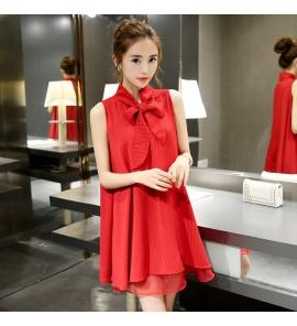 Women Korean Organza Bow Chiffon Loose Summer Maternity Dress