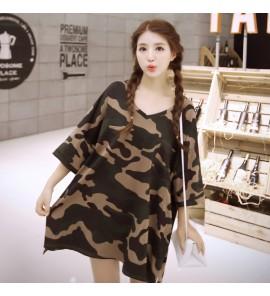 Women Camouflage Short-Sleeved T-shirt Long Body Maternity Tops