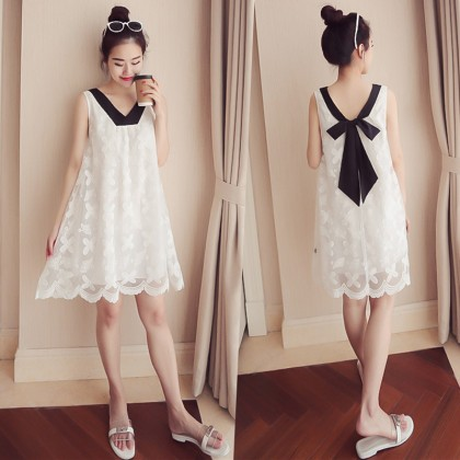 Women Sleeveless Lace Back Ribbon Maternity Dress