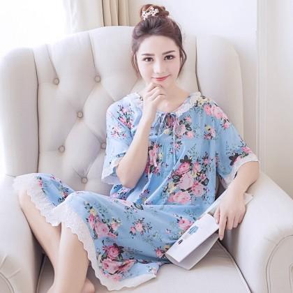 Women Silk Floral Short-Sleeved Cotton Dress Skirt Maternity Sleepwear