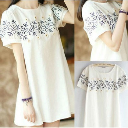 Women Korean Short Sleeve Flora Maternity Dress