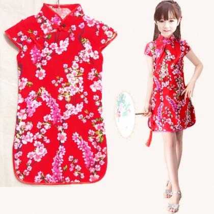 Kids Children Girl Chinese Style Tang Suit Guzheng Princess Dress