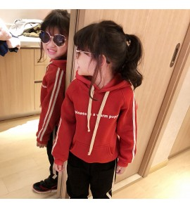 Kids Children Girl Fashion Personality Hooded Cotton Sweater Tops