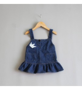 Kids Children Girl Korean Denim Strap Dress Spring Autumn Bottoms