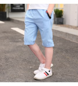 Kids Children Boy Big Summer Shorts Cotton and Linen Pants