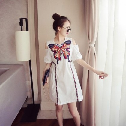 Women Printed Butterfly Off Shoulder Short Sleeve Maternity Dress