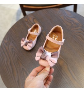 Kids Children Girl Korean Princess Flat Bow Soft Sole with Ribbon Shoes