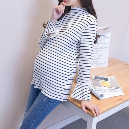 Women Striped Long Sleeve Cotton Bottoming Pregnant Shirt Maternity Tops
