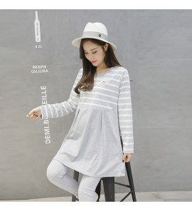 Women Jacket Long Loose Skirt Cotton Two-Piece Suit Maternity Tops