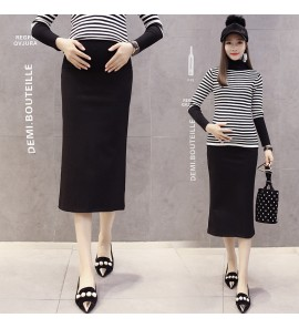 Women Black Spring Autumn Long Section Stomach Lift Maternity Skirts