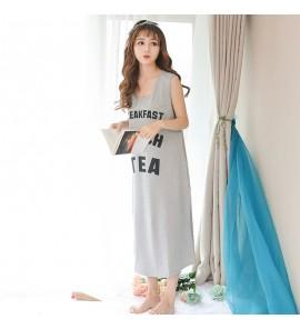 Women Summer Sleeveless Long Skirt Cotton Maternity Sleepwear