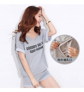 Women Summer Gray Sleeveless Skirt Cotton Maternity Sleepwear