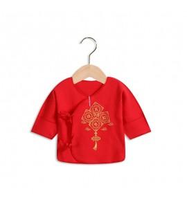 Baby Tongtai Newborn Cotton Red Boneless Half Back Clothes Tops