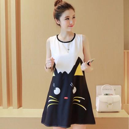 Women Cute Kitty Cat Sleeveless Maternity Dress