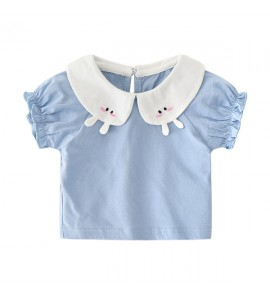 Baby Summer Dress Doll Collar Casual Wear Short Sleeve Clothes Tops