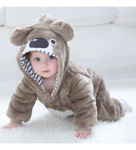 Baby Newborn Climbing Flannel Bear Cartoon Clothes Winter Wear