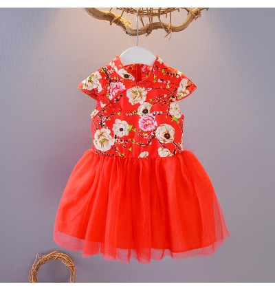 Kids Children Girl Chinese Year Cheongsam Princess Fluffy Skirt Dress