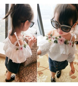 Kids Children Girl T-shirt Sling Lace Flower Embroidered Doll Shirt Tops