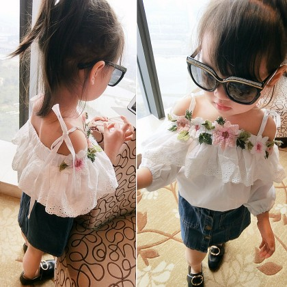 Kids Children Girl T-shirt Sling Lace Flower Embroidered Doll Shirt Tops