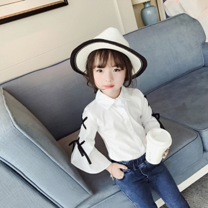 Kids Children Girl Korean Princess Bow Bow Trumpet Sleeve Shirt Tops