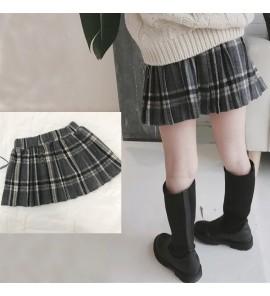 Kids Children Girl Half Length Wear Woolen Plaid Skirt Bottoms
