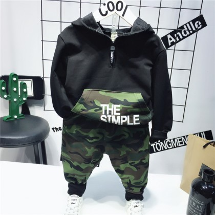 Kids Children Boy Camouflage Suit Hooded Long-Sleeved Pants Set