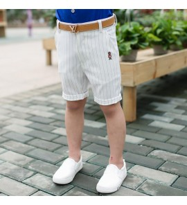 Kids Children Boy Korean Summer White Striped Shorts Pants