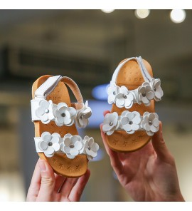 Kids Children Girl Korean Princess Flower Sandals Open Toe  Shoes