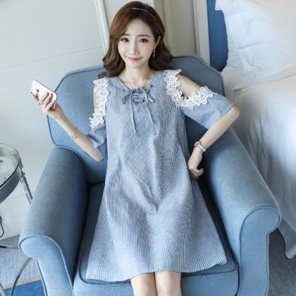 Women Lace Shoulder Lacing Stripes Maternity Dress