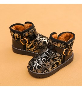 Kids Children Boy Warm Winter Snow Non-Slip Short Boots Shoes