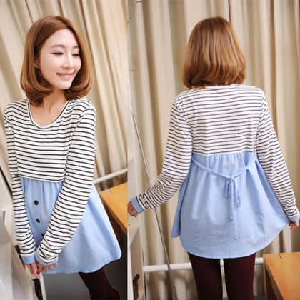 Women Spring Striped Long Sleeve Cotton Bottoming Bow Maternity Tops