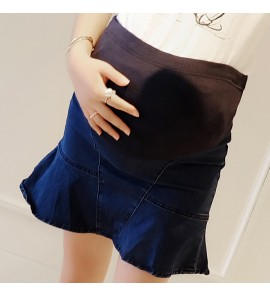 Women Denim Fishtail Stomach Lift Bottoming Maternity Skirts