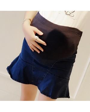 Women Denim Fishtail Stomach Lift Bottoming Maternity Skirts