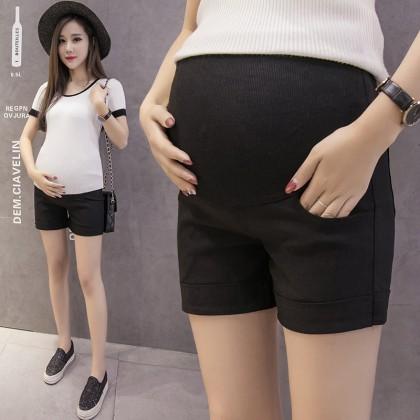 Women Wearing Stomach Lift Pants Wild High Stretch Maternity Short