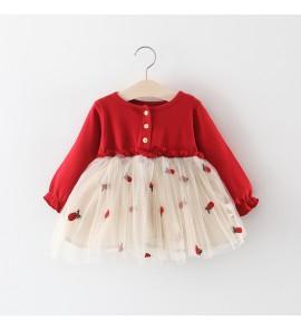 Kids Children Girl Summer Mesh Long Sleeves Princess Skirt Dress