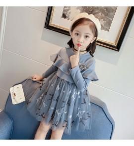 Kids Children Girl Princess Long-Sleeved lace Skirt Dress