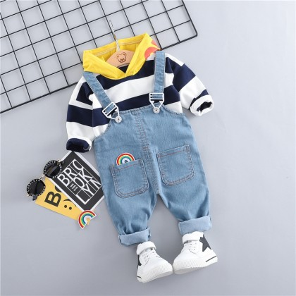 Kids Children Boy Casual Bib Two-Piece Jumper Pants Set