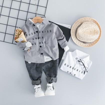 Kids Children Boy Korean Spring Two-Piece Long Sleeve Pants Set