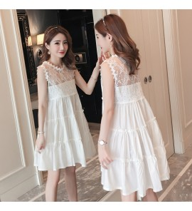 Women Embroidered Lace Slimming Sleeveless Korean Style Maternity Dress